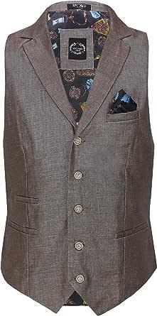 Xposed Mens Linen Blazer Cotton Blend Retro Vintage Smart Waistcoat[CWC-6-BROWN-36,Earth Brown, UK/US 36 EU 46]