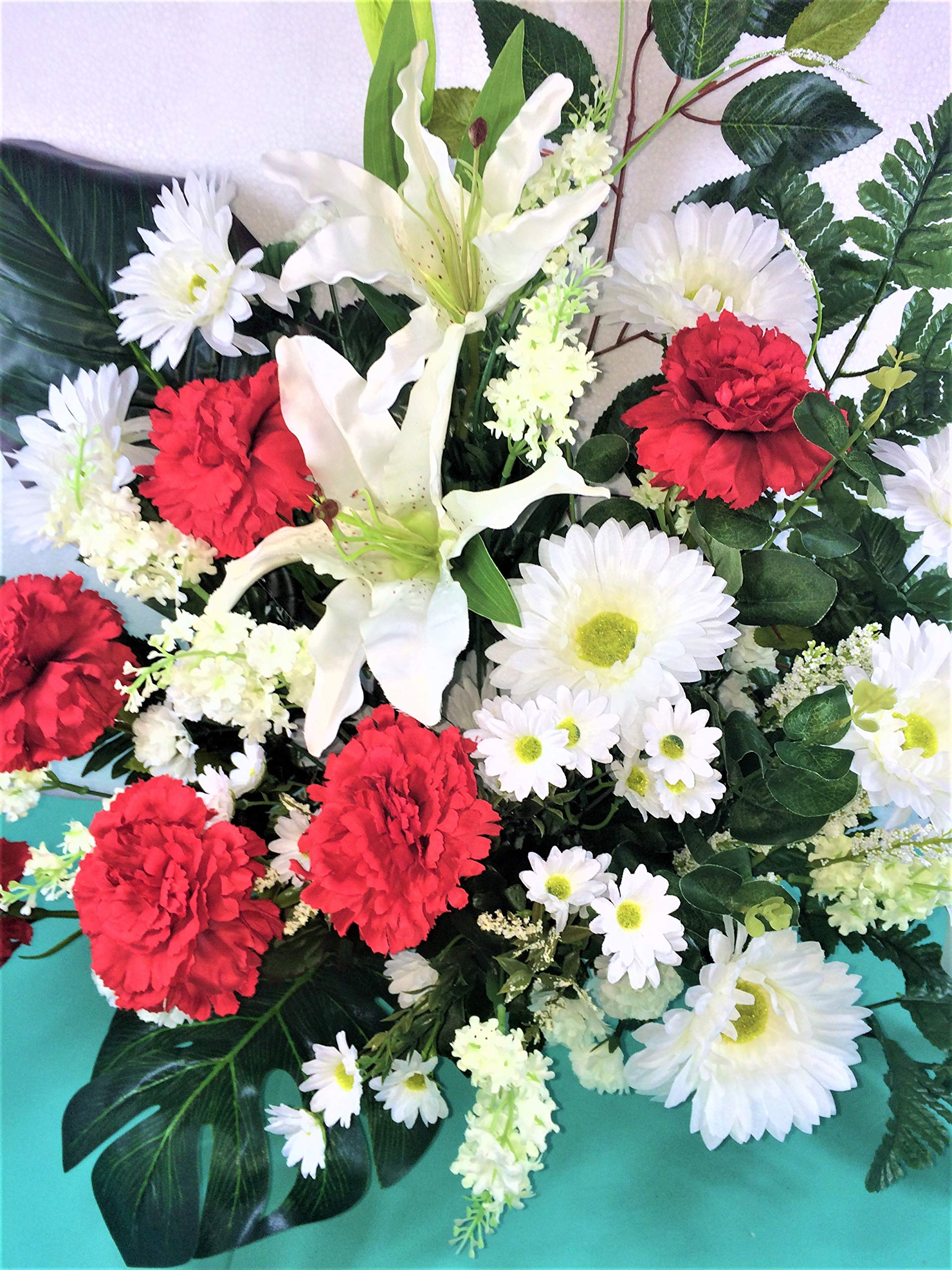 LBA Centro de Flores Artificiales para Cementerio. También para Iglesias. Especial Día de Todos los Santos. Medidas…