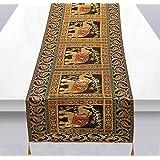 Stylo Culture Chemin de Table Traditionnel pour Table Basse en Jacquard de Brocart Noir et Satin avec des Glands d'éléphant d