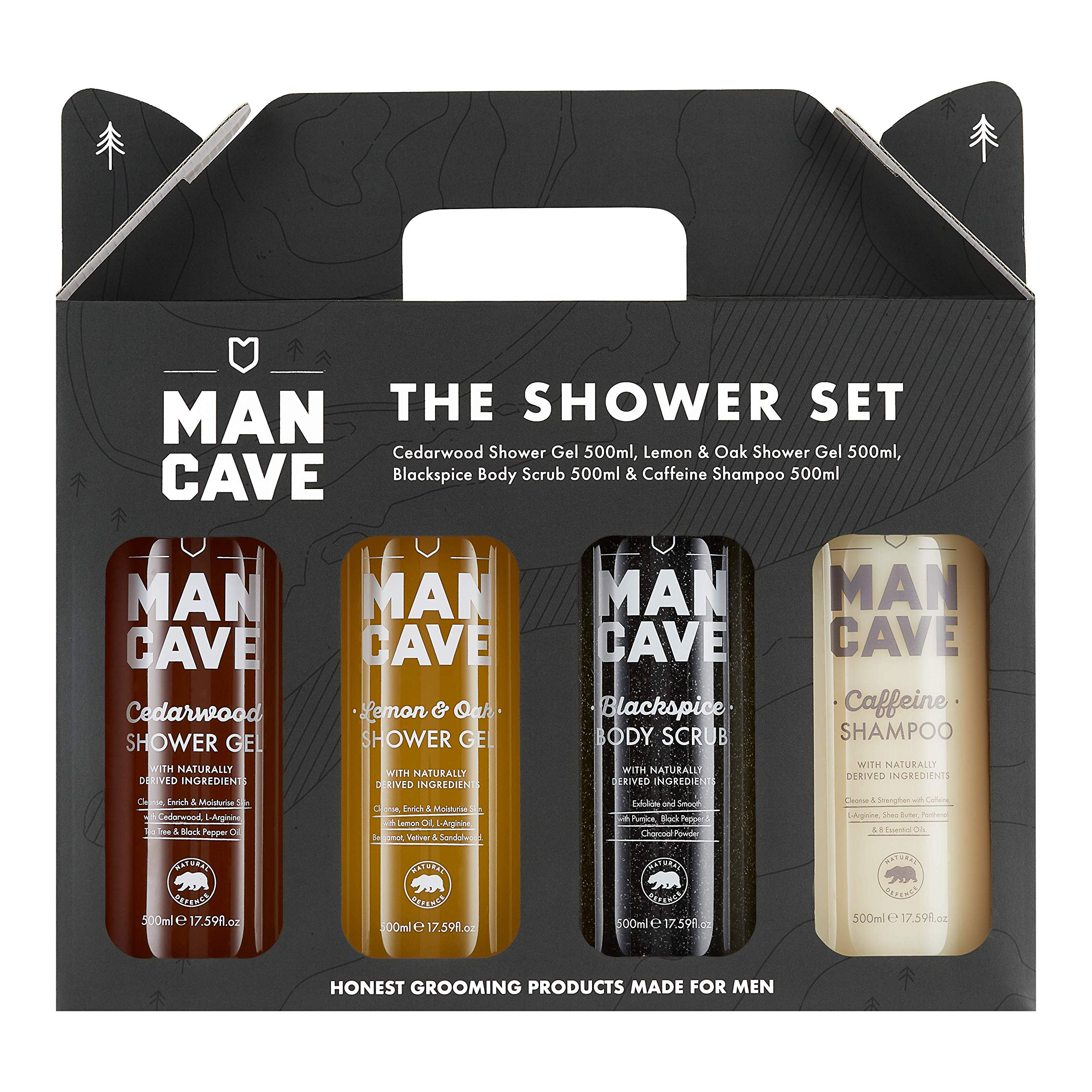 ManCave Shower Gift Set – 4 Signature Shower Products for Men – Amazon Exclusive