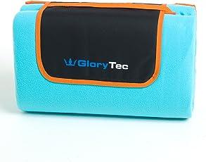 Glorytec 200x200cm XXL Picknickdecke Fleece - Große Stranddecke Wasserdicht, Wärmeisoliert und Schmutzabweisender Unterseite - Campingdecke Extra Leicht und Faltbar mit Tragegurt