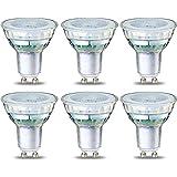 Amazon Basics Lot de 6 spots LED 4W (équivalent 50W) Culot GU10 Filament Transparent