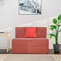 Amazon Brand - Solimo Metro Fabric 1 seater Sofa cum Bed (Red)
