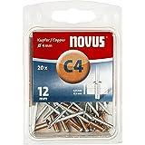 Novus Koperen klinknagels 12 mm, 20 stuks, Ø 4 mm, 6,0-8,5 mm klemlengte, voor corrosiebestendige, geleidende verbindingen