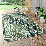 Tapis Intérieur & Extérieur Tissage À Plat Jungle Découpé Design Palmiers Floral Vert, Dimension:200x290 cm