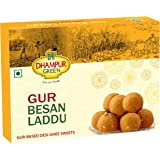 Dhampure Speciality Gur Besan Laddu Ladoo Indian Sweets - Desi Ghee Based Jaggery Mithaai, No Added Sugar, 500g