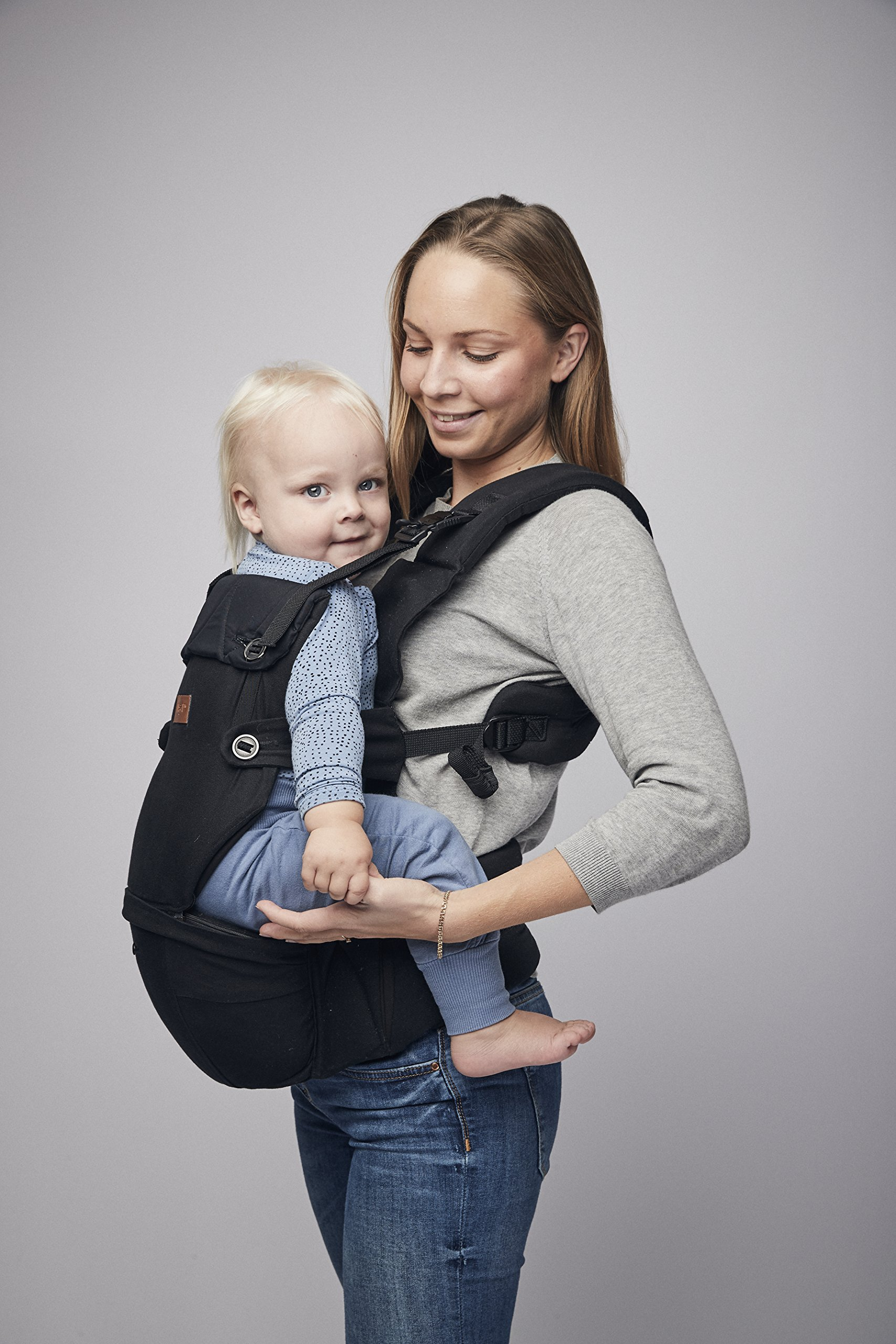 Najell Omni Active Mesh Baby Carrier with Hip Seat, Brilliant Black Béaba New-born ergonomic position and hips seat from 6 months. Market leading weight distribution with hip seat, recommended by the international hip dysplasia institute as a hip-healthy baby carrier Weight: 3, 5 to 15 kg and age: new-born to 3 years. 6