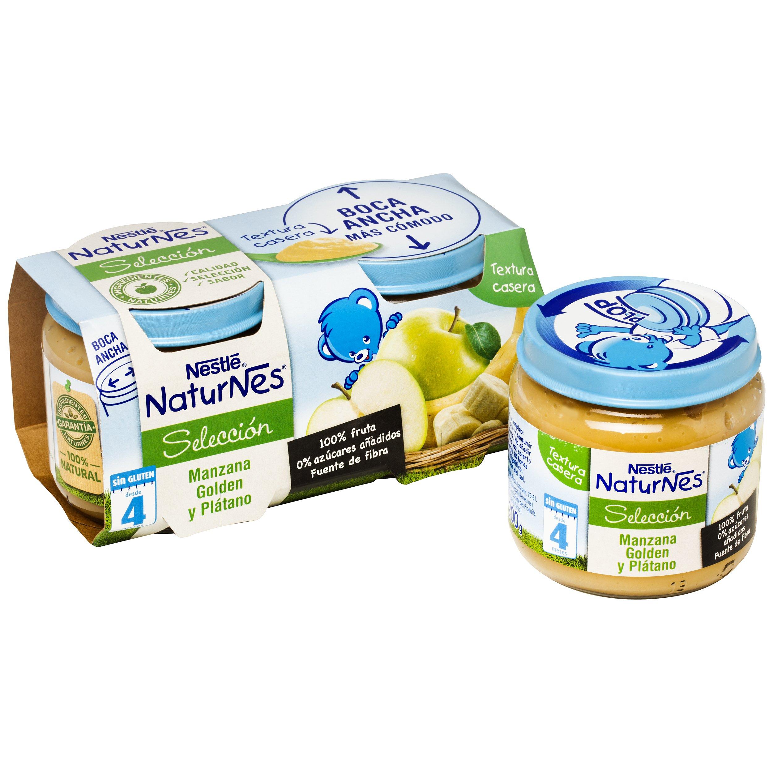 Nestlé Naturnes - Selección Manzana golden y Plátano - A partir de 4 meses - Pack de 5 x (2x200 g) -