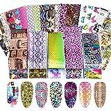 100 vellen Nail Foil Transfer Stickers, EBANKU Snake Flower Leopard Metallic Lace Print Nail Art Sticker Tips Wraps Transfer