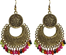 Tripti Classic Golden Chandbali with Multicolor Beads