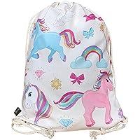 HECKBO® Sacca per Bambine con Unicorni (Beige) – Motivo con Unicorni Colorati – 40x32cm – Sport, Scuola, Tempo Libero…