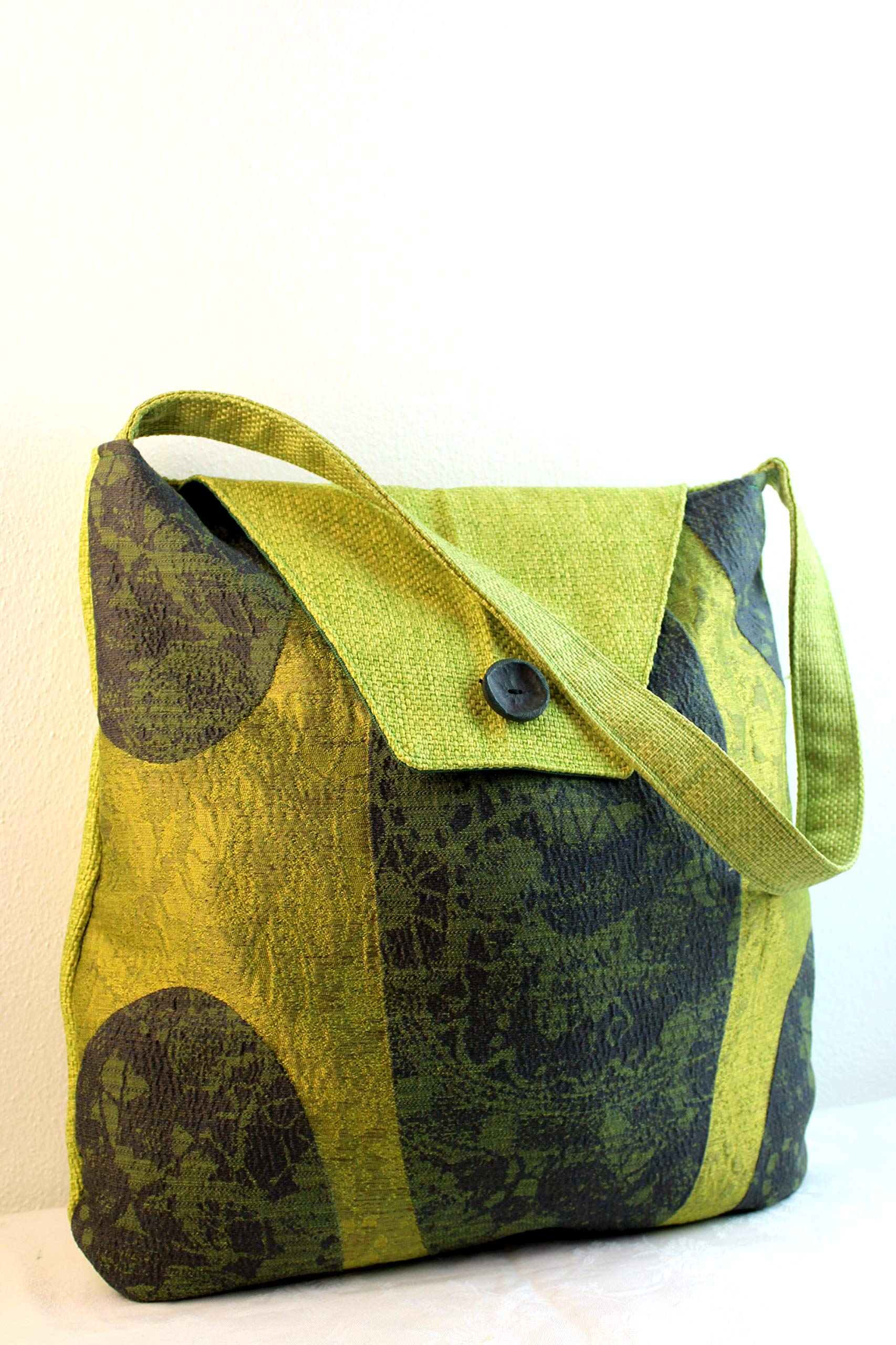 Shoulder bag in damask fabric - Green tapestry - made in italy sartorial bag - handmade-bags