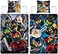 Lego Ninjago Kinder-Bettwäsche Movie Battle - 135x200 cm + 80x80 cm - 100% Baumwolle Linon - Cole - Jay - Kai - Lloyd - Zane - Nya - Misako - Sensei Wu - Renforcé - deutsche Größe - Wende-Motiv