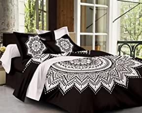 SheetKart Traditional Mandala 144 TC Cotton Bedsheet Set