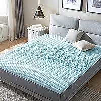 RECCI Surmatelas en mousse viscoélastique à 5 zones de dureté H3 pour matelas et lit à sommier tapissier 80 x 200 x 6 cm
