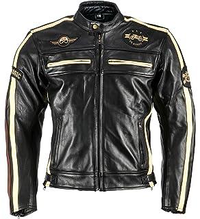 Herren Retro Biker Lederjacke Motorrad Jacke Race Streifen