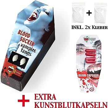 FXSTUFF Denti da vampiro + capsule di sangue finto + pasta  modellabile termoplastica (riutilizzabile) – tenuta perfetta tramite  adattamento individuale d9b2723ef933