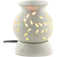 BRAHMZ Ancient Matki Shape Electric Ceramic Aroma Oil Diffuser with Bulb, 12 cm (White)
