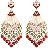 I Jewels 18K Gold Plated Traditional Handcrafted Meena Work Earring Glided with Kundan & Pearls (E2792)