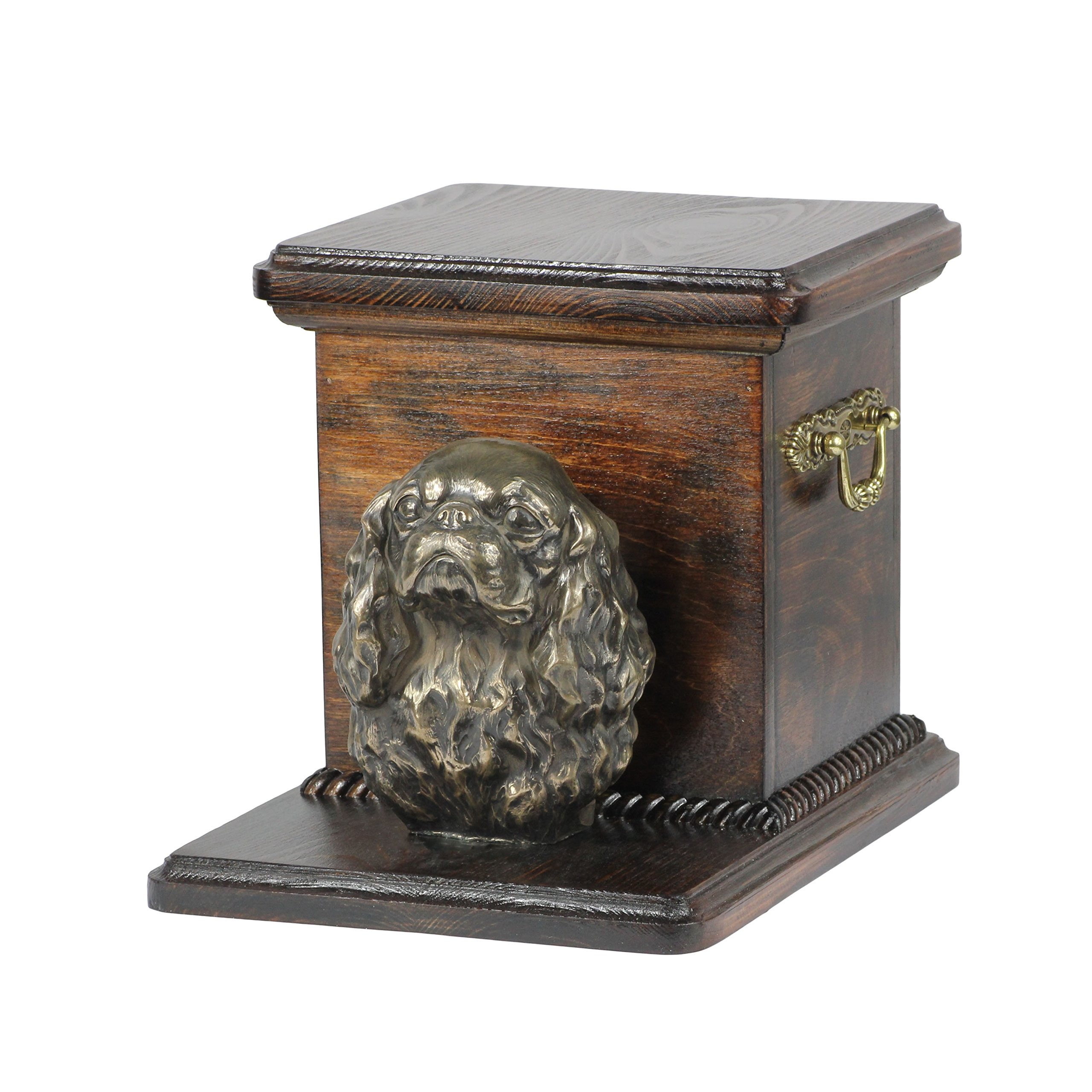 Cavalier King Charles Spaniel, memorial, urn for dog's ashes, with dog statue, ArtDog