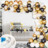Whaline Balloon Arch & Garland Kit, 120Pcs Black, White, Gold Confetti and Metal Latex Balloons with 1pcs Tying Tool, Balloon