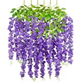 Tdas Artificial Plants Decorative Flowers Hanging Bunch Creepers Garlands Leaves (Purple, 6 Pieces )