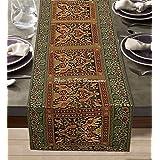 DK Homewares Tradition Indienne Vert Foncé Brocart Chemin De Table 60 X 16 Pouces Décoration De Maison Jacquard Satin 5 Ft Na