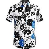 SSLR Camisa de Manga Corta con Estampado de Flores Estilo Hawaiano Moderno de Hombre