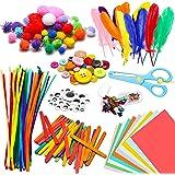 WATINC 800pcs DIY Art Craft Kit pour Enfants Cadeau Bricolage Artisanal Jouets éducatifs Set d'artisanat Pipe Cleaners, Wiggl