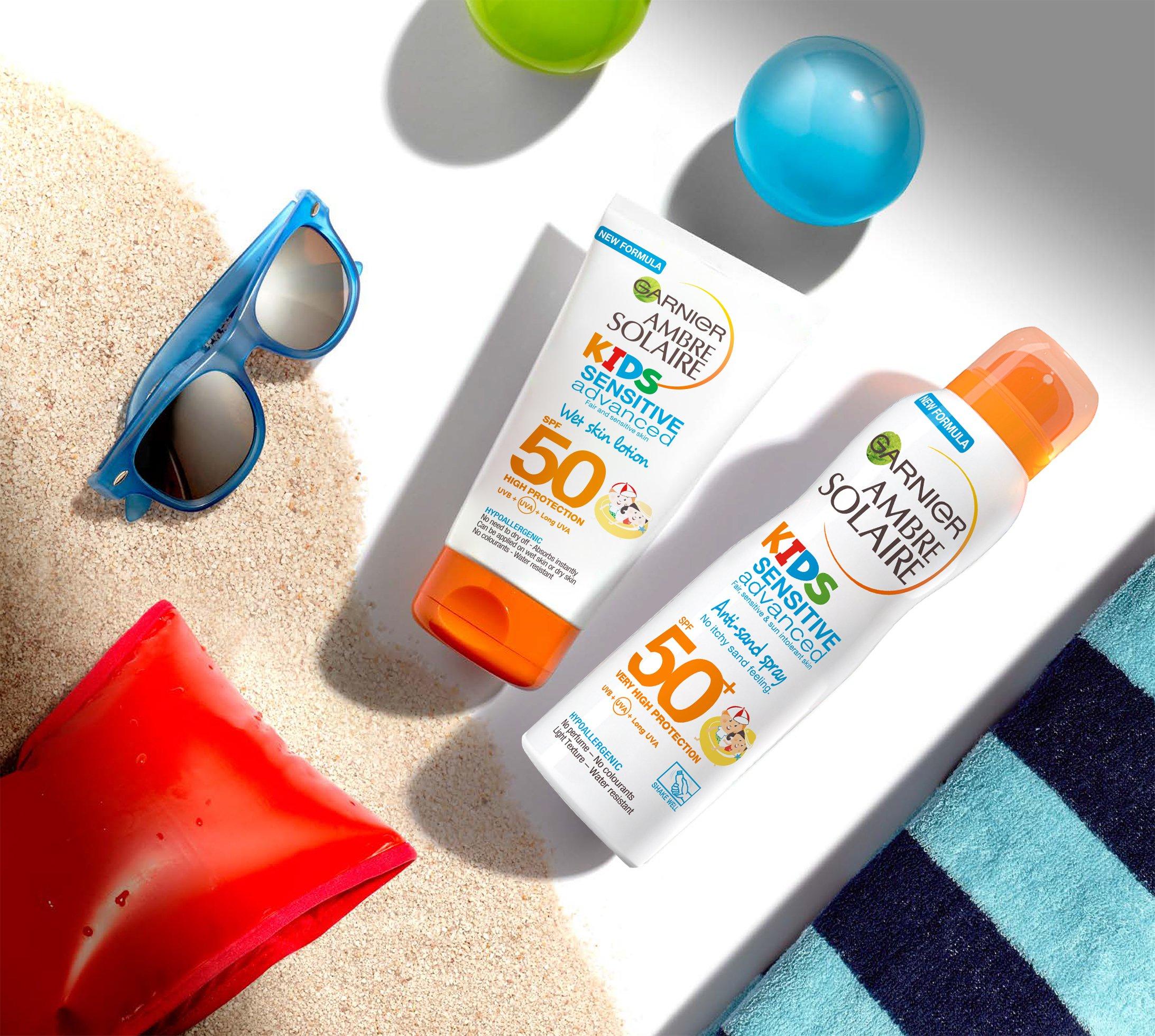 Spray de crema solar Ambre Solaire resistente a la arena sensible para los niños SPF 50 + 200ml