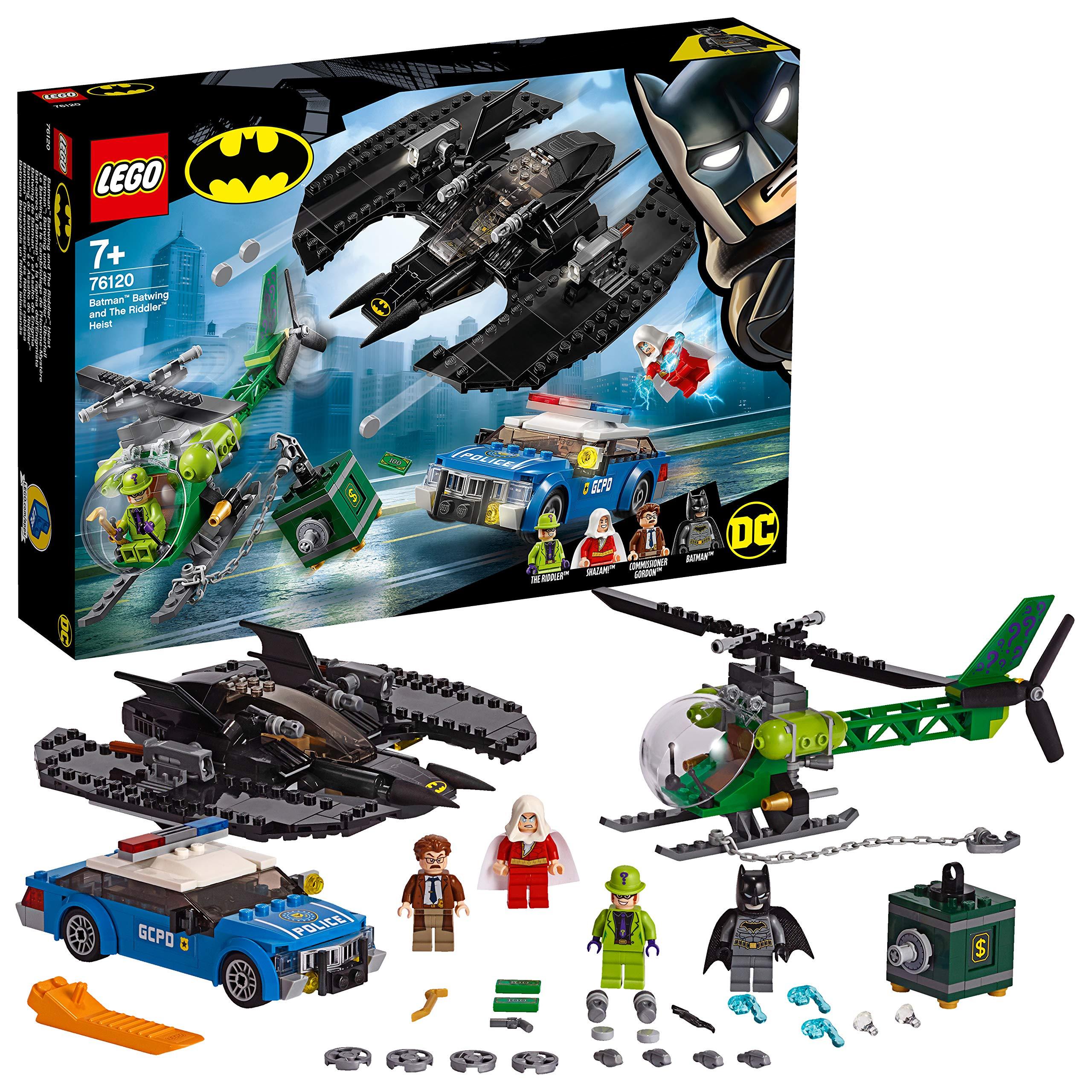 LEGO Super Heroes – Batwing de Batman y el Asalto de Enigma Juguete de Aventuras de Superhéroes, incluye Minifigura del Comisario Gordon y Shazam, Novedad 2019 (76120)