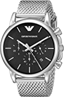 Emporio Armani Men's Black Dial Stainless Steel Band Watch - AR1811, Chronograph Display