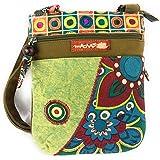 Macha borsa piccola in cotone etnico con stampe colorate e inserti in pelle, borsa a tracolla in cotone e pelle per donna Etn
