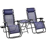 Amazon Basics Lot de 2fauteuils relax pliants avec table d'appoint, Bleue