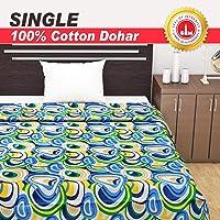 Divine Casa HomeLinen100% CottonReversibleKidsDohar,Blanket,Quilt, ThrowSingleBed (Abstract, Blue)