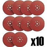 S&R Disques de Ponçage Papier Abrasifs Ø 225 mm. Jeu de 10 Disques - Grain 320 pour Ponceuse Girafe
