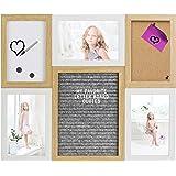 Gadgy ® Letter Board, Lavagna Sughero e Lavagna Magnetica Bianca in uno   40,5 x 33,8 x 1,5 cm   Con 170 Lettere Bianche, 2 Puntine da Disegno, 2 Magneti e 1 Pennarello