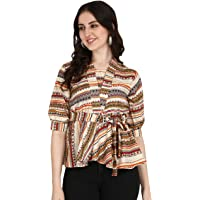 Greciilooks Women Printed Slub Rayon Top with Full Sleeves for Office Wear, Casual Wear, Under 399 Top for Women/Girls…