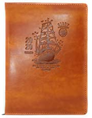 Crownlit Ship Design Leather Based Diary for 2020, Size : B5