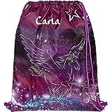 Turnbeutel mit Namen personalisiert   Motiv Pegasus fliegendes Pferd in lila & pink   Schuhbeutel Mädchen Sportbeutel für Kin