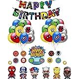 Decoracion Cumpleaños Superheroes Globos de Superhéroe Feliz Cumpleaños del Pancarta Superheroes Adornos de Pastel Superhéroe