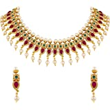 Asmitta Traditional Kuiri Shape Gold Plated Choker Style Necklace Set for Women
