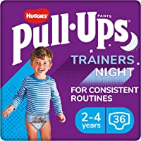 Huggies Pull-Ups Trainers Night, Boy, Size 2-4 Years, Nappy Size 5-6+, 36 BIG KID Training Pants