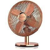 Brandson - Ventilateur de table silencieux 30W, Design rétro chromé industriel, Desk fan, 3 vitesses, mobile portable, Oscill