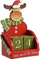 WeRChristmas Wooden Reindeer Advent Calendar Christmas Decoration, 16 cm - Multi-Colour