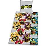 Herding 465501050412 Bettwäsche Teenage Mutant Ninja Turtles, Kopfkissenbezug: 80 x 80 cm und Bettbezug: 135 x 200 cm, 100% Baumwolle, Flanell/Biber