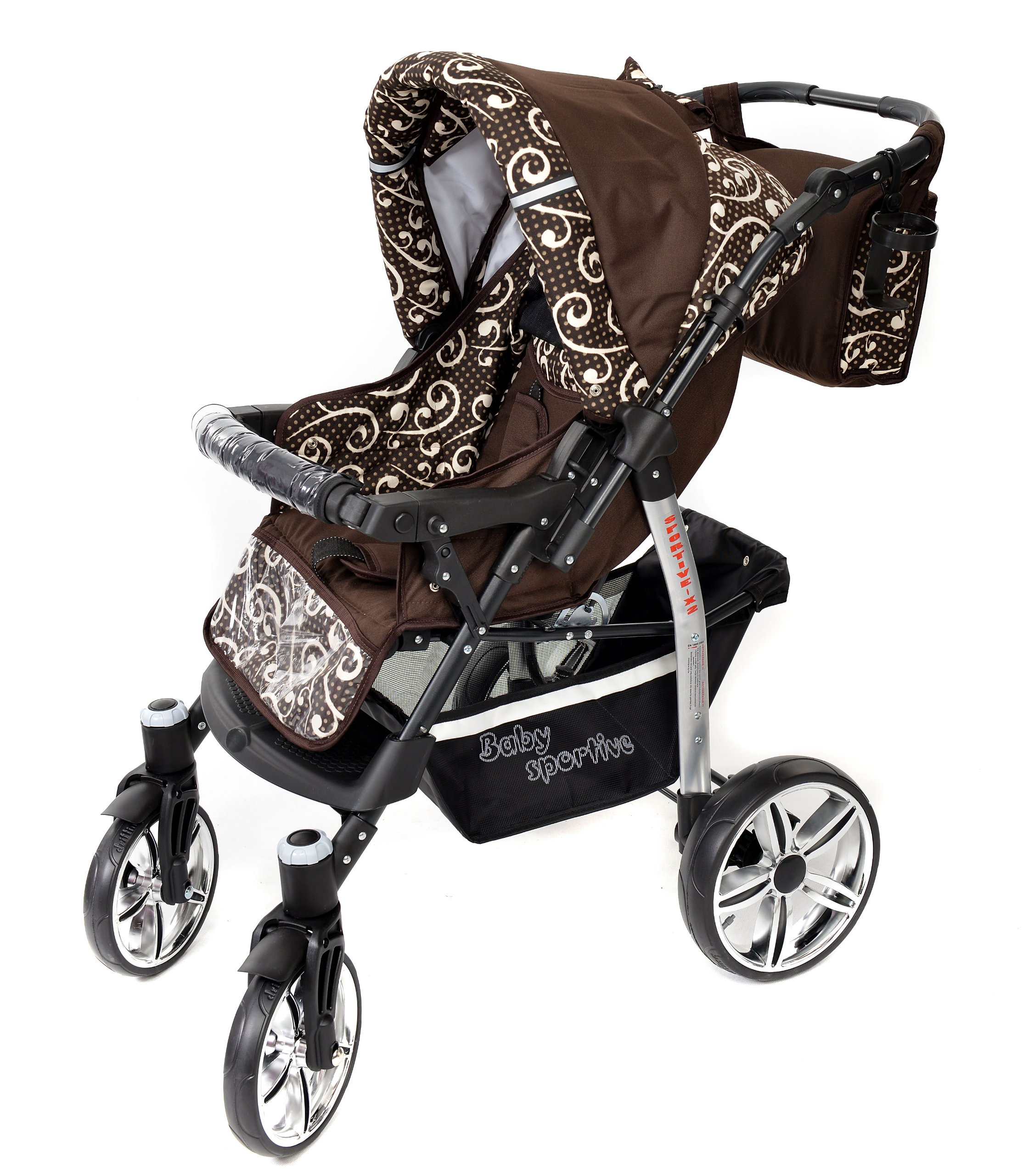 Sportive X2, 3-in-1 Travel System incl. Baby Pram with Swivel Wheels, Car Seat, Pushchair & Accessories (3-in-1 Travel System, Brown & Wawy Lines)  3 in 1 Travel System All in One Set - Pram, Car Carrier Seat and Sport Buggy + Accessories: carrier bag, rain protection, mosquito net, changing mat, removable bottle holder and removable tray for your child's bits and pieces Suitable from birth, Easy Quick Folding System; Large storage basket; Turnable handle bar that allows to face or rear the drive direction; Quick release rear wheels for easy cleaning after muddy walks Front lockable 360o swivel wheels for manoeuvrability , Small sized when folded, fits into many small car trunks, Carry-cot with a removable hood, Reflective elements for better visibility 4