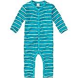 WELLYOU, Pijamas, Pijamas para niños y niñas, una Pieza de Manga Larga, niños pequeños, Color Azul Turquesa con Rayas Blancas