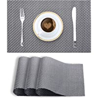 Smile Mom PVC Placemats/Mat for Dining Table Kitchen (Set of 4 Piece). Washable, Waterproof, Plastic (45 X 30 cm, Rich Metallic Grey Weave)