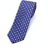 Cravatta blu 100% seta – Cravatta fatta a mano - Cravatta 150 * 7 cm (blu con rosa combinato)